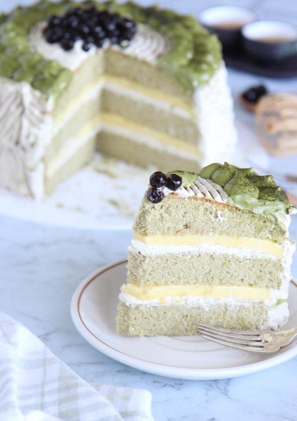 Matcha Boba Pudding Cake